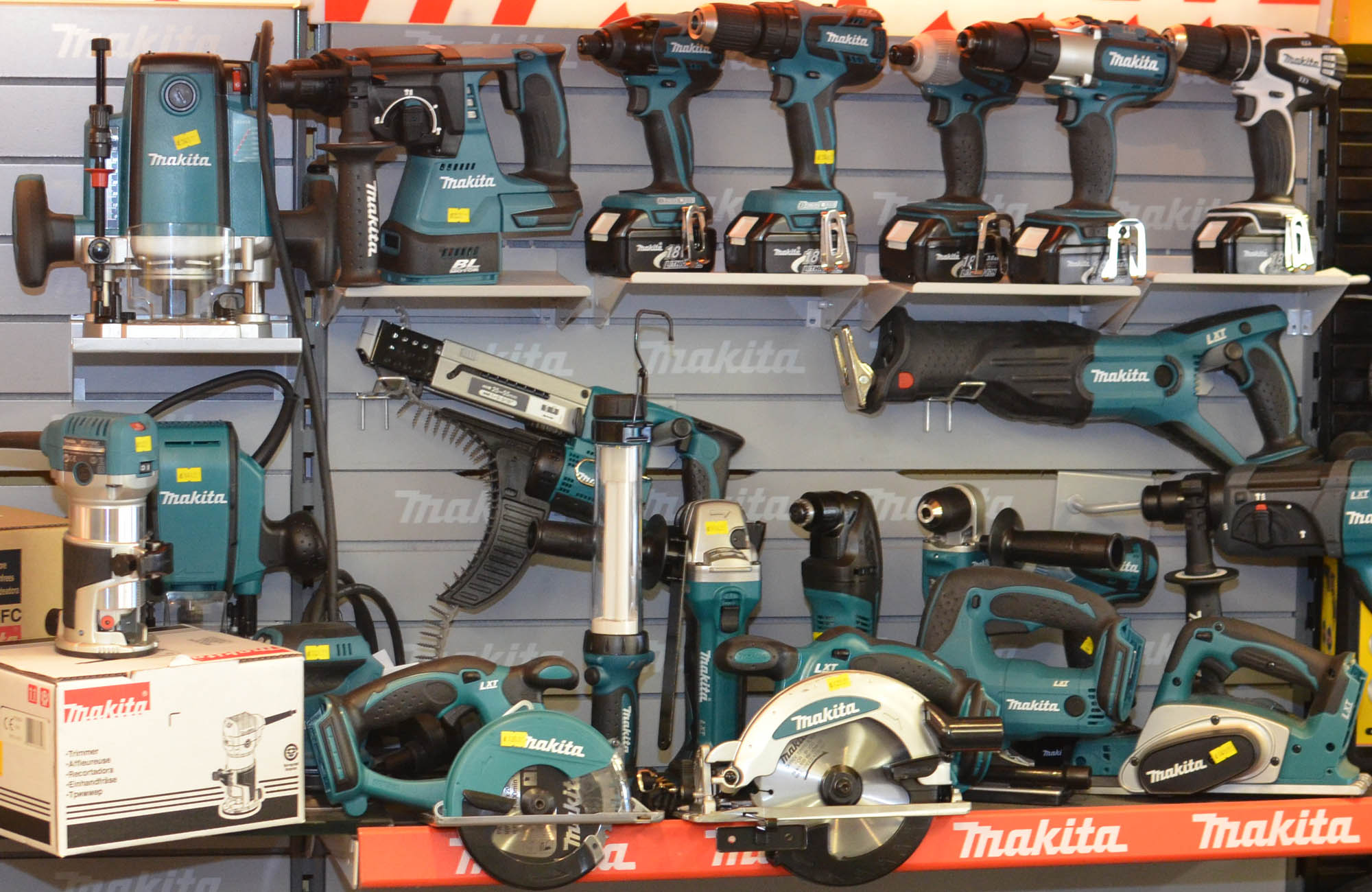 A range of Makita power tools at Main Road Tools, Romford